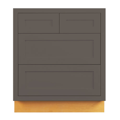 "Drawer Base Cabinet Dark Gray Shaker Inset Drawer Base Cabinet - 30""- 33"" Inset Kitchen Cabinets"
