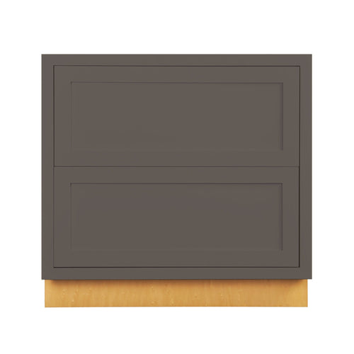 "Drawer Base Cabinet Dark Gray Shaker Inset Drawer Base Cabinet - Two Drawers - 36"" wide D3DB36-2P Inset Kitchen Cabinets"