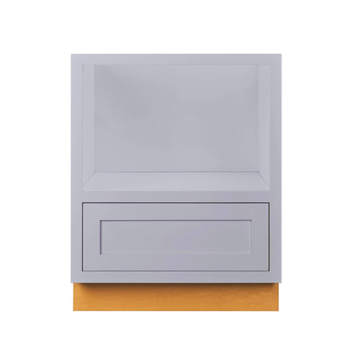 "Drawer Base Cabinet Light Gray Inset Shaker Microwave Base Cabinet - 27"" D2BMC27 Inset Kitchen Cabinets"
