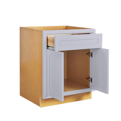 "Drawer Base Cabinet Light Gray Shaker Inset Drawer Base Cabinet - 12"", 15"", 18"", 21"", 24"" & 27"" Inset Kitchen Cabinets"