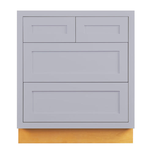 "Drawer Base Cabinet Light Gray Shaker Inset Drawer Base Cabinet - 30""- 33"" D2DB30 Inset Kitchen Cabinets"