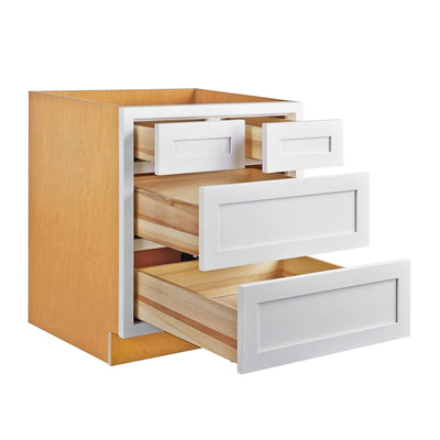 "Drawer Base Cabinet Snow White Shaker Inset Drawer Base Cabinet - 30""- 33"" Inset Kitchen Cabinets"