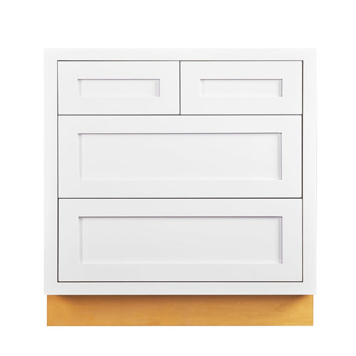 "Drawer Base Cabinet Snow White Shaker Inset Drawer Base Cabinet - 30""- 33"" D1DB30 Inset Kitchen Cabinets"