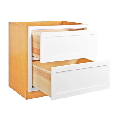 "Drawer Base Cabinet Snow White Shaker Inset Drawer Base Cabinet - Two Drawers - 36"" D1B36-2P Inset Kitchen Cabinets"