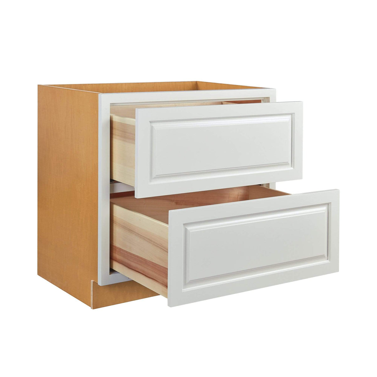 "Drawer Base Cabinet Vintage White Raised Panel Inset Drawer Base Cabinet - Two Drawers - 36"" D5DB36-2P Inset Kitchen Cabinets"