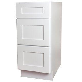 "Drawer Base Cabinet White Shaker 3 Drawer Base Cabinet 12"", 15"", 18"", 21"", 24"", 27"", 30"", 36"" Inset Kitchen Cabinets"