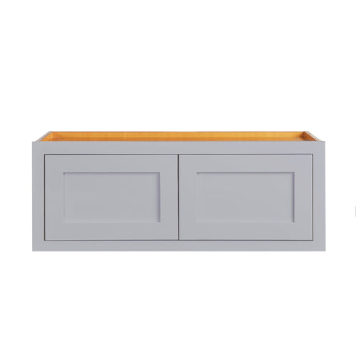 "Over Stove 30"" Wide 30"" Wide Bridge Light Gray Inset Shaker Wall Cabinet - Double Door 12"", 15"", 18"", 21""& 24"" Tall D2W3012 Inset Kitchen Cabinets"