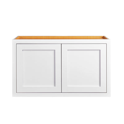 "Over Stove 30"" Wide 30"" Wide Bridge Snow White Inset Shaker Wall Cabinet - Double Door 12"", 15"", 18"", 21""& 24"" Tall D1W301214 Inset Kitchen Cabinets"