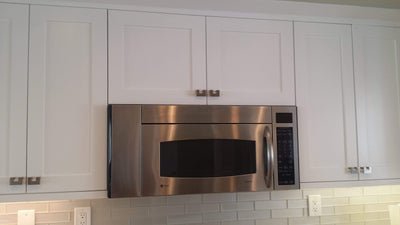 "Over Stove 30"" Wide 30"" Wide Bridge White Shaker Wall Cabinet - Double Door 12"", 15"", 18"", 21"", 24"" Tall Inset Kitchen Cabinets"