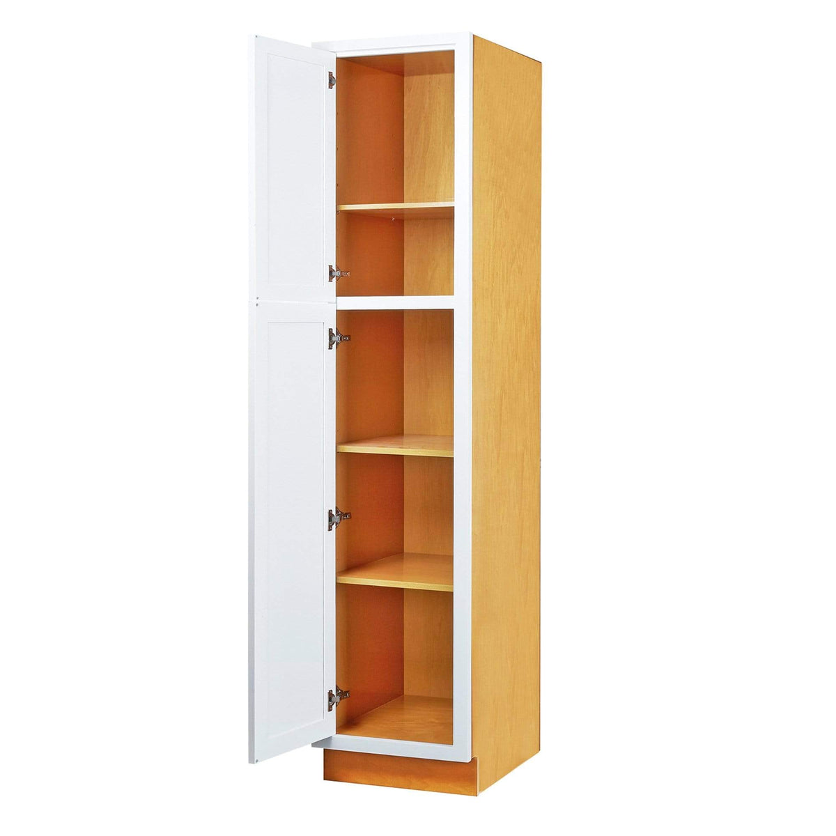 "Pantry Cabinet Pantry Snow White Inset Shaker Cabinet 84"" Tall 18' Wide D1PC1884 Inset Kitchen Cabinets"