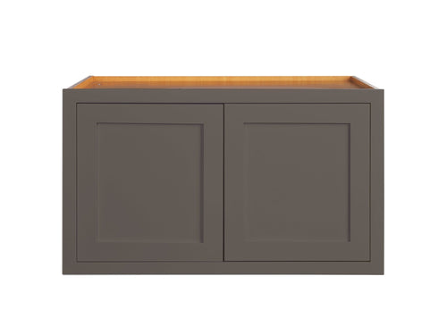 "Wall Cabinet 36"" Wide 24"" Deep Dark Gray Inset Shaker Refrigerator Wall Cabinet - Double Door 12"", 15"", 18"", 21"" & 24"" Tall Inset Kitchen Cabinets"