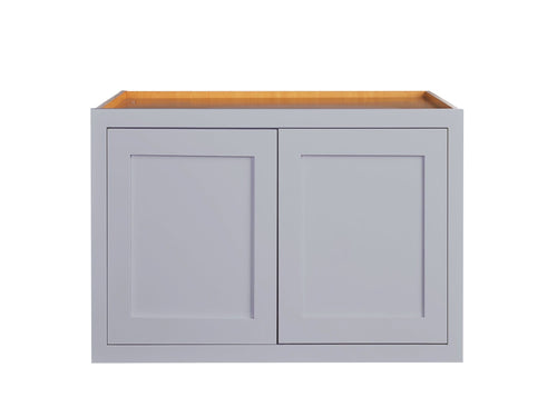 "Wall Cabinet 36"" Wide 24"" Deep Light Gray Inset Shaker Refrigerator Wall Cabinet - Double Door 12"", 15"", 18"", 21"" & 24"" Tall Inset Kitchen Cabinets"