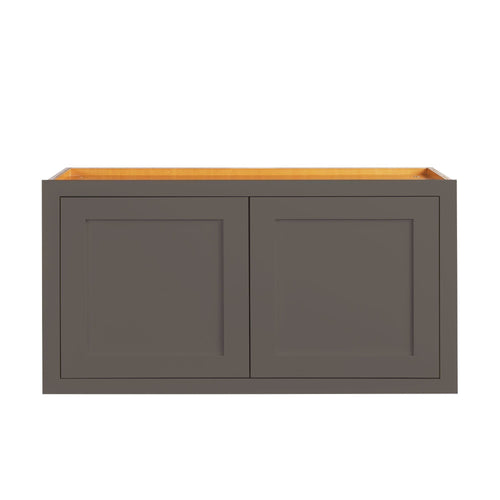 "Wide Bridge Dark Gray Inset Shaker Wall Cabinet - Double Door 12"", 15"", 18"", 21""& 24"" Tall"