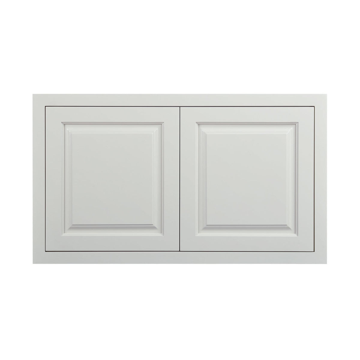 "Wide Bridge Vintage White Inset Raised Panel Wall Cabinet - Double Door 12"", 15"", 18"", 21""& 24"" Tall"