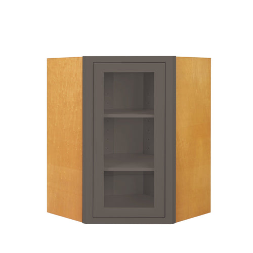 "Wall Cabinet Diagonal Corner Dark Gray Inset Shaker Wall Cabinet - Single Door Glass 27"" Wide Inset Kitchen Cabinets"