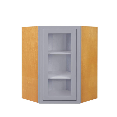 "Wall Cabinet Diagonal Corner Light Gray Inset Shaker Wall Cabinet - Single Door Glass 27"" Wide Inset Kitchen Cabinets"
