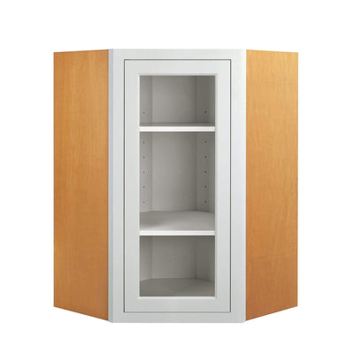 Wall Cabinet Diagonal Corner Snow White Inset Shaker Wall Cabinet - Single Door Glass D1WDC2730G Inset Kitchen Cabinets