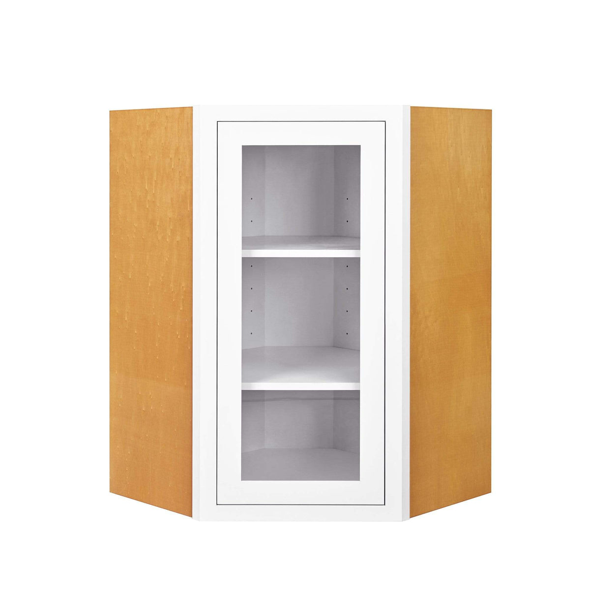 Wall Cabinet Diagonal Corner Snow White Inset Shaker Wall Cabinet - Single Door Glass Inset Kitchen Cabinets