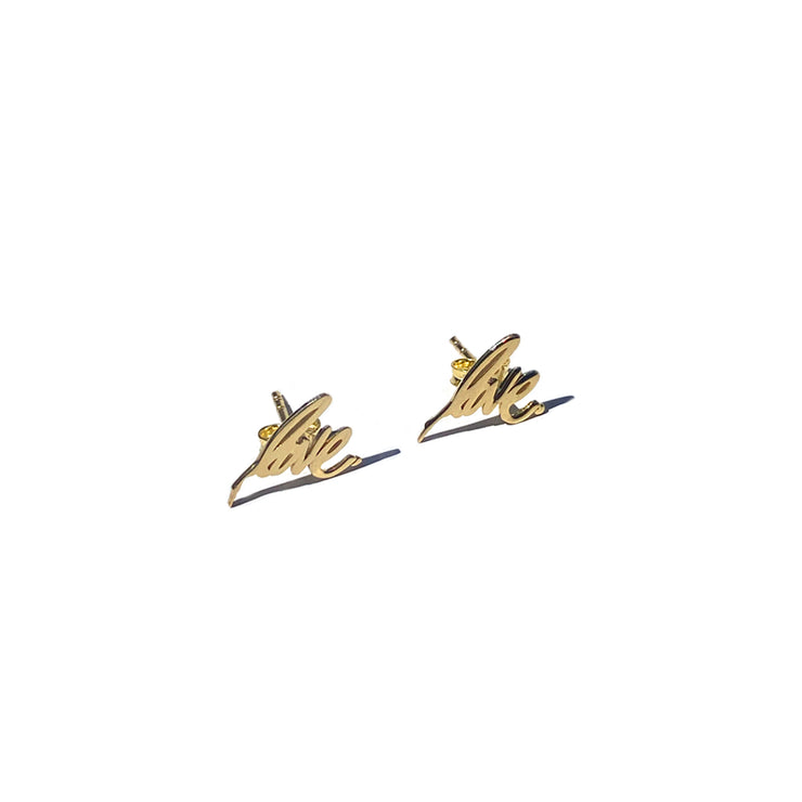 14k Gold Signature Love Earrings