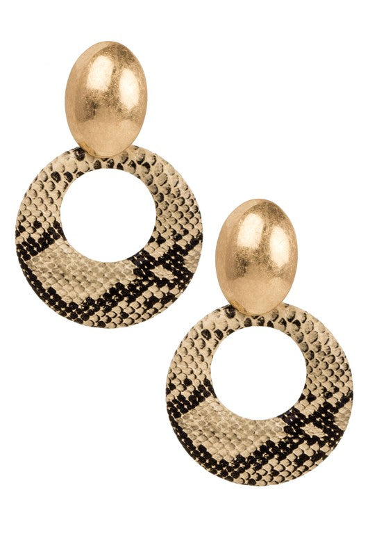 Snakeskin Drop Hoop Earrings