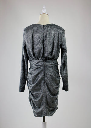 Silver Sparkle Wrap Dress