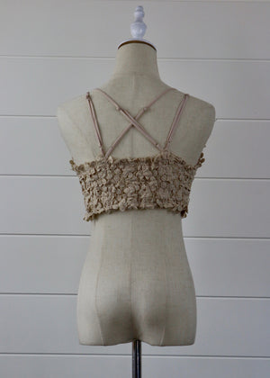 Floral Lace Spaghetti Strap Padded Bralette
