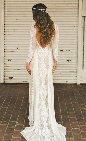 Long Sleeved Open Back Lace Wedding Gown
