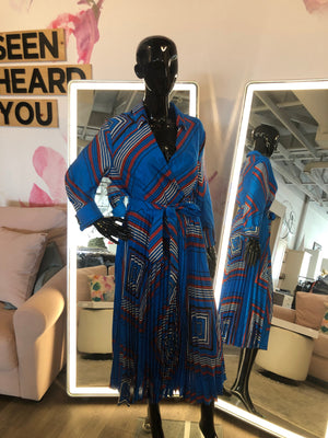 Navy Blazer with striped rolled up cuffs