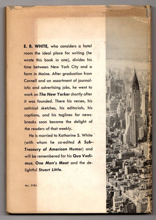 Here Is New York by E.B. White First Edition Back Cover