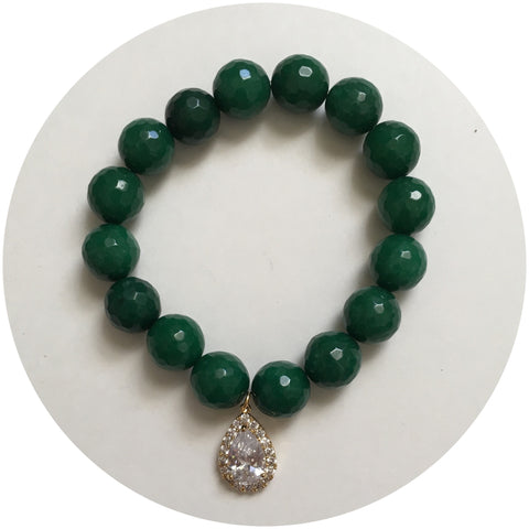Emerald Green Jade with Pavé Gold Teardrop