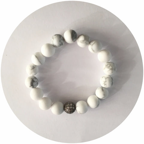 Mini White Howlite with Gunmetal CZ Micro Pavé Accent *For NewBorns*