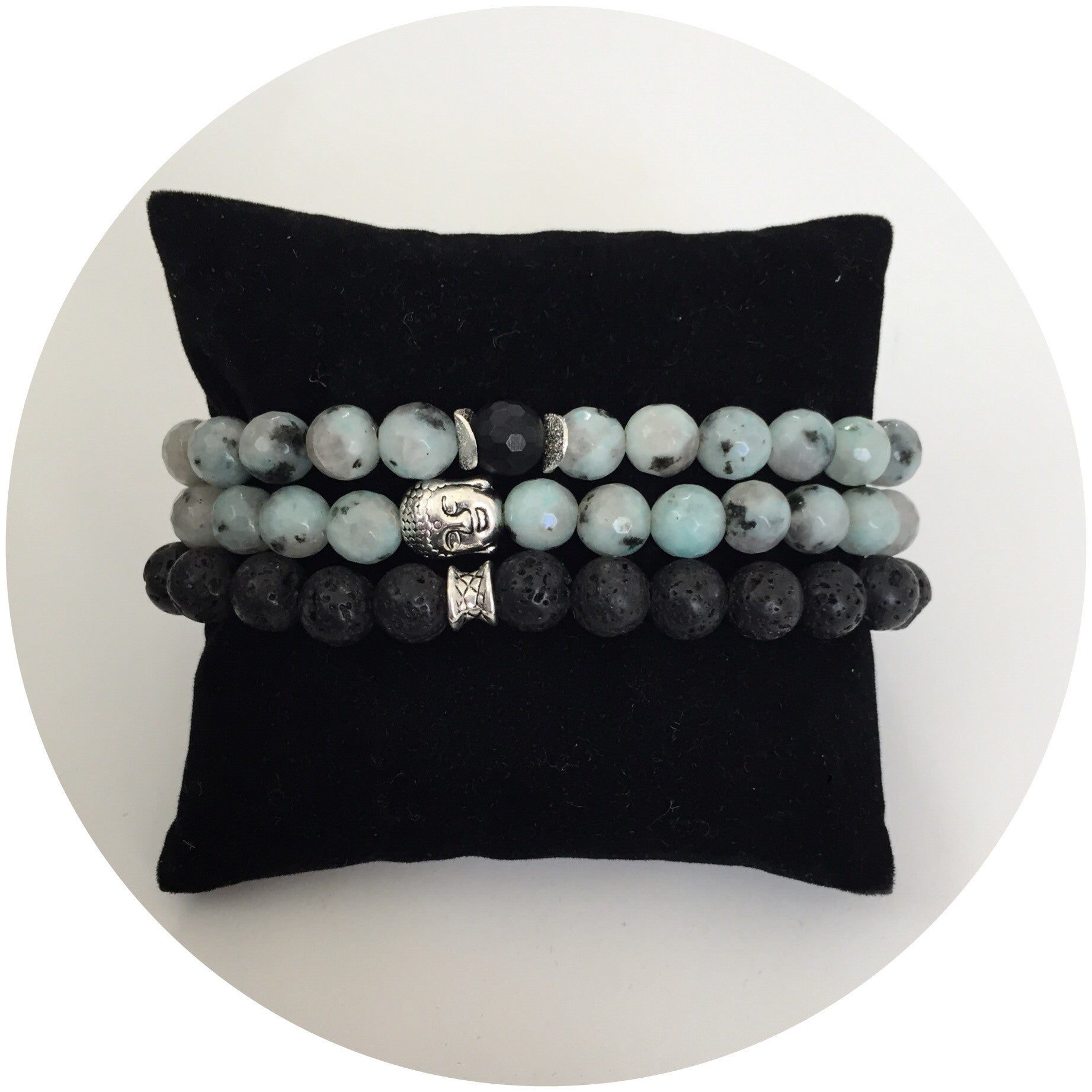 Mens Kiwi Jasper with Black Onyx Accent - Oriana Lamarca LLC