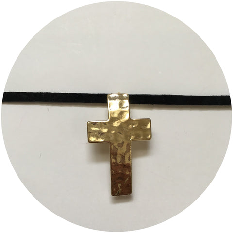 Hammered Gold Cross with Black Suede Choker
