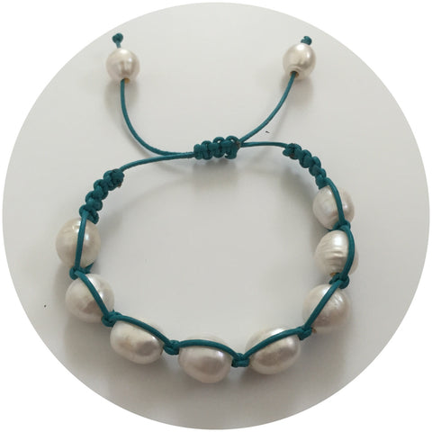 Turquoise leather with Freshwater Pearl Shamballa Bracelet