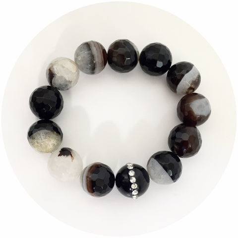 Black Quartz Agate with Black Onyx Swarovski