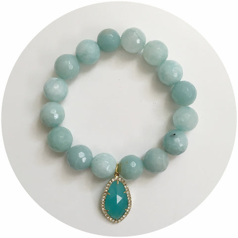 Amazonite Light with Pavé Aqua Glass Pendant - Oriana Lamarca LLC