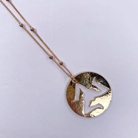Sicilian Trinacria Small Hammered Gold Necklace
