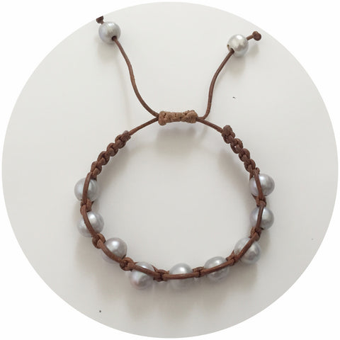 Natural Leather with Gris Pearl Shamballa Bracelet