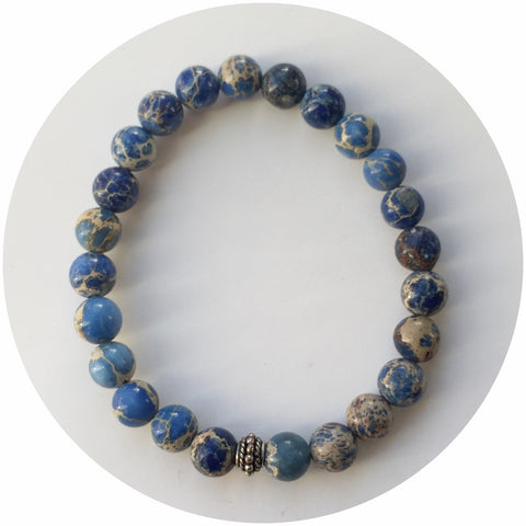 Mens Blue Imperial Jasper with Antique Silver Accent