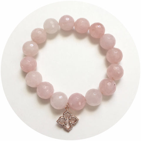 Rose Quartz with Pavé Rose Gold Clover