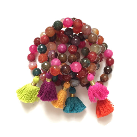 Multicolor Agate with Raspberry Tassel