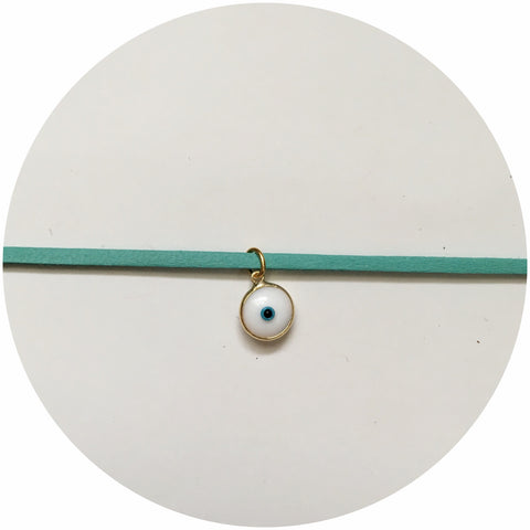Evil Eye with Turquoise Leather Choker