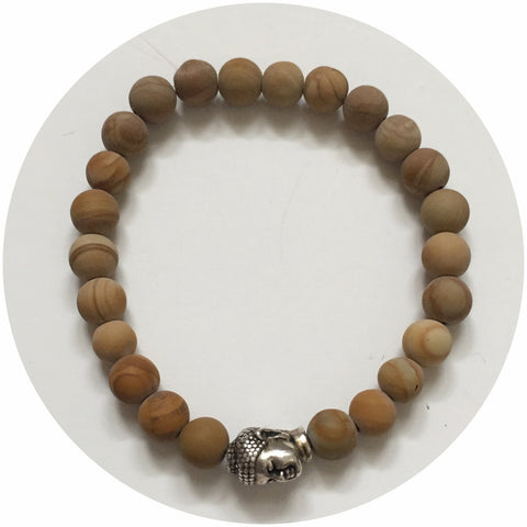 Mens Matte Picture Jasper with Silver Buddha