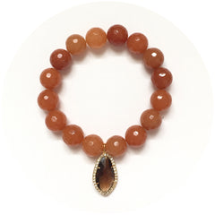 Brown Aventurine with Pavé Topaz Glass Pendant - Oriana Lamarca LLC