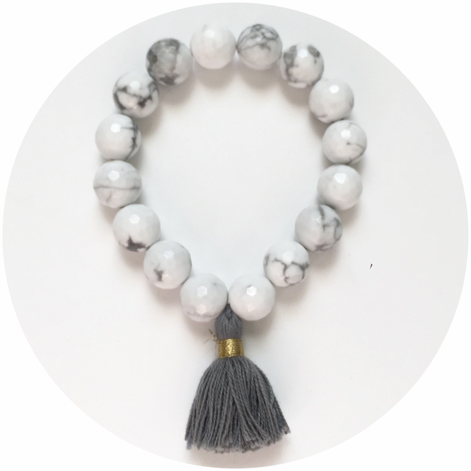 White Howlite with Grey Tassel - Oriana Lamarca LLC