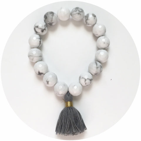 White Howlite with Grey Tassel