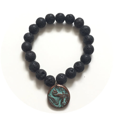 Black Lava with Verdegris Roman Coin Bracelet