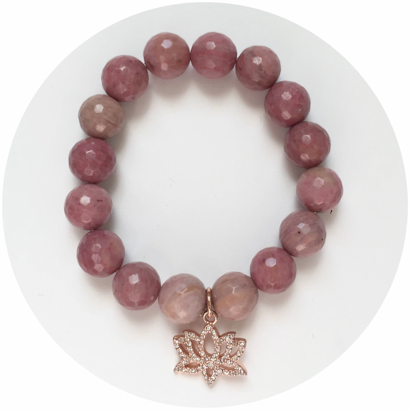 Rhodonite with Pavé Rose Gold Lotus Pendant - Oriana Lamarca LLC