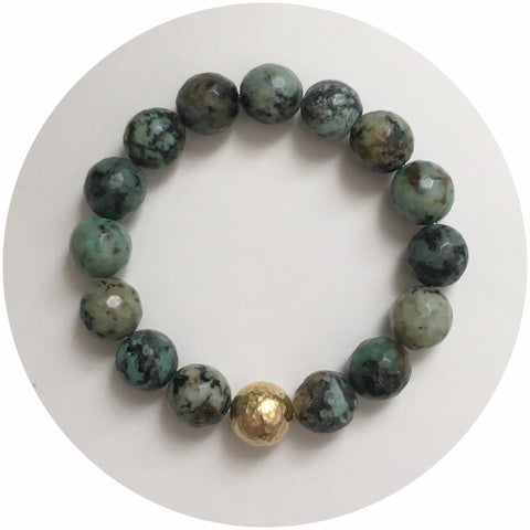 African Turquoise with Hammered Gold Accent