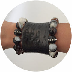 Black Quartz Agate with Black Onyx CZ Stripe - Oriana Lamarca LLC
